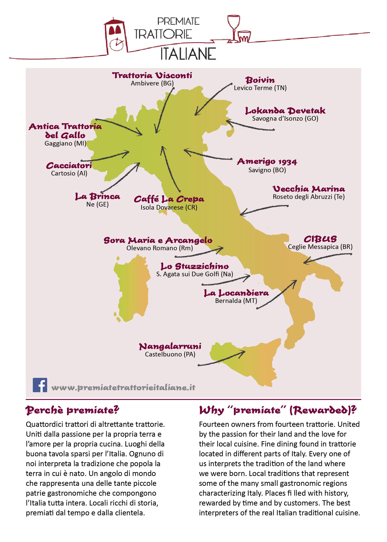 Trattorie Italiane, Trattoria, 2019, Caffè La Crepa, Cibus, Cacciatori, La Brinca, Vecchia Marina, Puglia, Roseto, Sora Maria, Isola Dovarese, Levico, Savigno, Bergamo, Milano,